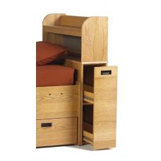 Woodcrest Reversible Bedside Storage Unit w/Pullout Drawer. 2 Interior Shelves & Attached Bookshelf Carrel