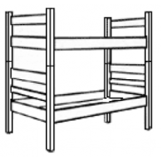 Bunkable Bed w/Platform Deck & Wood Side Rails