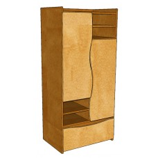"Aero 2 Compartment Wardrobe w/4 Storage Shelves & 1 Bottom Drawer, 36""W"