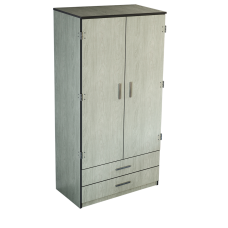 "Contempo Double Door Wardrobe w/2 Bottom Drawers, Interior Shelf & Clothes Rod, 36""W, 78""H"