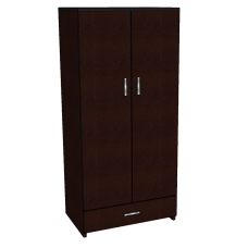 "Contempo Double Door Wardrobe w/1 Bottom Drawer, Interior Shelf & Clothes Rod, 36""W, 78""H"