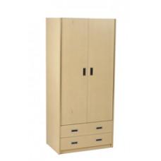 "Contempo Double Door Wardrobe w/2 Bottom Drawers, Interior Shelf & Clothes Rod, 30""W, 78""H"