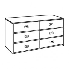 "Contempo Dresser. 6 Drawers,  3 Side by Side, 48""W"