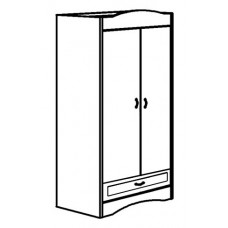 "Madison Double Door Wardrobe w/1 Bottom Drawer & Clothes Rod, 30""W, 60""H"