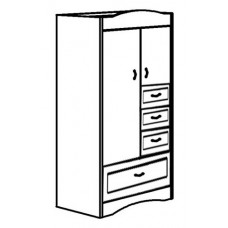 "Madison Wardrobe Chest w/Double Door, 1 Large Bottom Drawer, 3 Drawers on Right Side, Interior Shelf & Clothes Rod, 36""W"