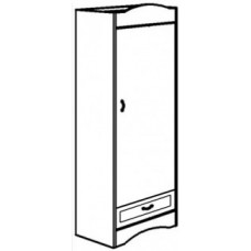 "Madison Single Door Wardrobe w/1 Bottom Drawer, Interior Shelf & Clothes Rod, 24""W, 78""H"