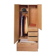 "Nittany Wardrobe Chest w/Double Door, 1 Large Bottom Drawer, 3 Drawers on Right Side, Interior Shelf & Clothes Rod, 36""W"