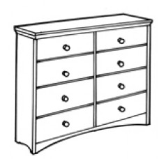 "Shaker Dresser, 8 Equal Drawers, 4 Side by Side, 60""W"