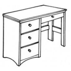 "Shaker Open Leg Pedestal Desk w/3 Equal Drawers & Pencil Drawer, 42""W"