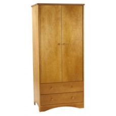 "Shaker Double Door Wardrobe w/2 Bottom Drawers, Interior Shelf & Clothes Rod, 30""W, 78""H"