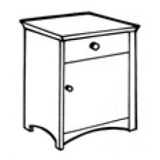 Shaker Nightstand w/Top Drawer & Compartment Door