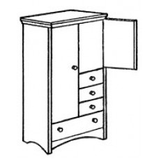 "Shaker Wardrobe Chest w/Double Door, 1 Large Bottom Drawer, 3 Drawers on Right Side, Interior Shelf & Clothes Rod, 36""W"