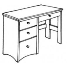 """Shaker Open Leg Pedestal Desk w/2 Box Drawers, 1 File Drawer & Pencil Drawer, 42""""W"""