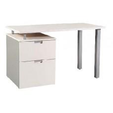 """Urban Pedestal Desk with Metal Open Leg End, 1 Box Drawer & 1 File Drawer, 42""""W"""