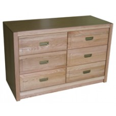 "Woodcrest Dresser, 6 Drawers, 3 Side by Side, 60""W"
