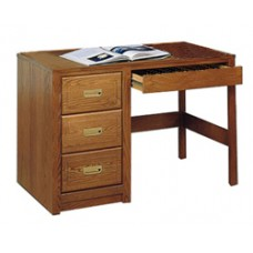 "Woodcrest Open Leg Pedestal Desk w/3 Equal Drawers & Pencil Drawer, 42""W"
