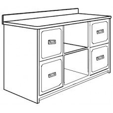 "Woodcrest Media Cabinet w/4 Drawers & 2 Open Compartments, 60""W"