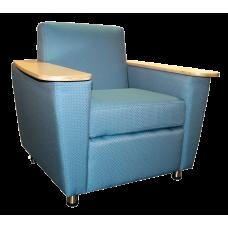Elle Custom Arm Chair w/2 Tablet Arms, Adjustable Metal Feet & Casters