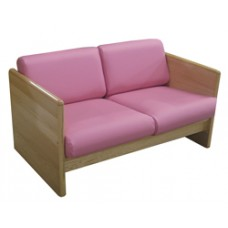Ship Plank Settee w/Attached Reversible Cushions
