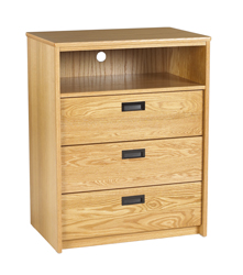 "Nittany Media Chest w/3 Drawers & 1 Top Open Compartment, 36""W"