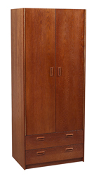 "Nittany Double Door Wardrobe w/2 Bottom Drawers, Interior Shelf & Clothes Rod, 30""W, 78""H"
