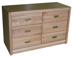 "Woodcrest Dresser, 6 Drawers, 3 Side by Side, 48""W"