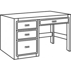 "Beachcomber Open Leg Pedestal Desk w/2 Box Drawers, 1 File Drawer & Pencil Drawer, 42""W"
