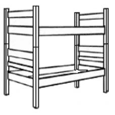 Bunkable Bed w/Bolt-on-Spring, Platform Deck & Wood Side Rails