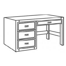 "Beachcomber Open Leg Pedestal Desk w/3 Equal Drawers & Pencil Drawer, 42""W"