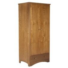 "Shaker Double Door Wardrobe w/1 Bottom Drawer & Clothes Rod, 30""W, 60""H"