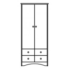 """Shaker Double Door Wardrobe w/4 Bottom Drawers (2 Sets of 2, Side by Side), Interior Shelf & Clothes Rod, 42""""W, 78""""H"""