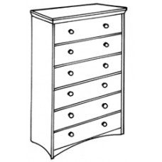 """Shaker 6 Drawer Chest w/5 Equal Size Drawers & Smaller Top Drawer, 30""""W"""
