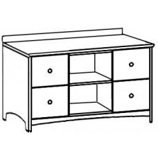 """Shaker Media Cabinet w/4 Drawers & 2 Open Compartments, 48""""W"""