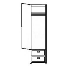 "Woodcrest Single Door Wardrobe w/2 Bottom Drawers, Interior Shelf & Clothes Rod, 24""W, 78""H"
