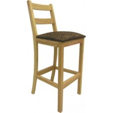 Ladderback Bar Stool w/Upholstered Seat & Wood Back